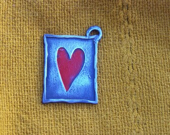 Pewter Painted Red Heart Keychain