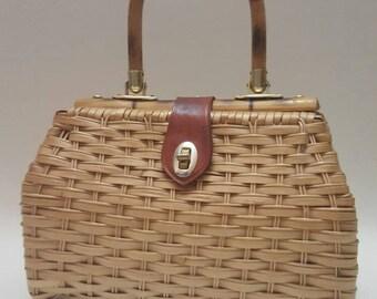 Vintage 60s Wicker Bag Basket Wood Handbag Purse