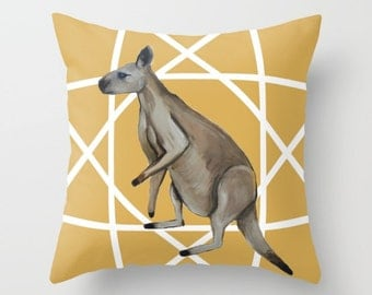 Mr Roo Cushion Cover Yellow Ochre