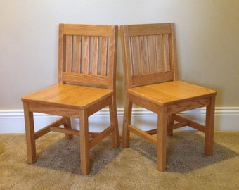 14 inch Children's Chairs (2 Chairs) Honey Brown - Arts & Crafts Style or Mission Oak - Handcrafted 1930's Wood Child's School Chair