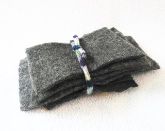 Felted Sweater Wool Small Scraps FOREST GREEN Felted Wool Pieces Fabric Scraps Craft Supplies Destash from WormeWoole