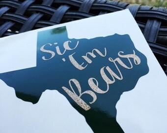 Baylor Bears Decal | Sic 'Em Bears | Yeti Decal | Yeti Cooler Decal | Computer Decal | Yeti Rambler Decal