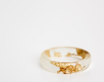 size 7.5 | thin smooth stacking eco resin ring | clear resin with gold metallic flakes | gold flakes