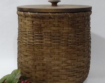 Waste  Basket with Lid / Magazine Basket / Storage Basket / Organizer Basket / Handwoven Basket