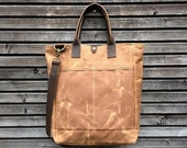 Waxed canvas tote bag / carry all with  leather handles and shoulder strap   COLLECTION UNISEX
