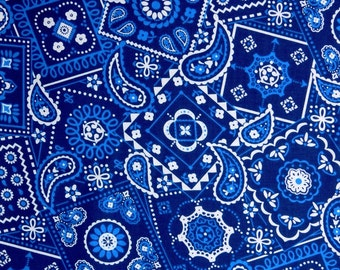 Blue Bandana fabric, 100% cotton fabric for general arts and crafts and all sewing projects.