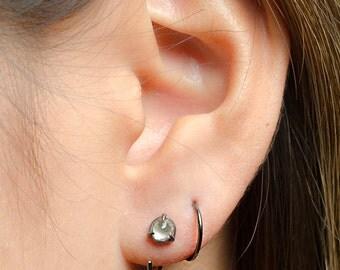 Tiny Sterling Silver Hoop Earrings, Ruthenium, Hammered Silver Hoops, Classic Silver Hoops, Silver Wire, Minimalist Modern Jewelry,EAR001