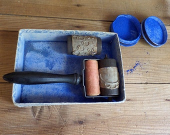 vintage French LARGE embroidery roller with rubber stamps