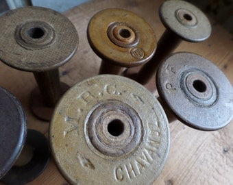 Old french spools  set of 6 spools bobbins 1930s
