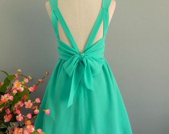 A Party V Charming Dress Mint Green Prom Party Dress Green Wedding Bridesmaid Dress Green Cocktail Dress Mint Green Backless Dress XS-XL