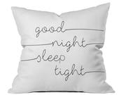 Good Night Sleep Tight Throw Pillow Case Childs Pillow Kids Pillow Kids Room PillowCase Good Night Sleep Tight