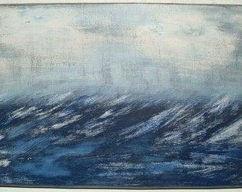 large seascape painting on wood