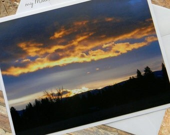 Sunrise Reflections Photo Note Card. Scenic Nature Photography Montana.