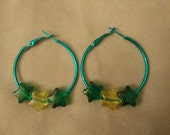 Blue 1.5 Inch Hoops with Green and Yellow Stars
