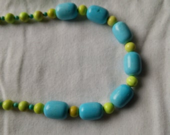 Blue Magnesite and Spring Green Stone Beaded Necklace