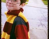 Harry Potter Costume Inspired Kids Scarf - Halloween Winter Warm Crochet Accessories by Julian Bean