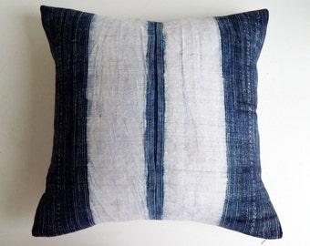 Hmong Indigo Pillow Cover - Navy Batik Throw Pillow - Tribal Modern Decor