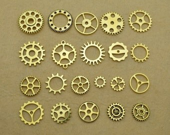 Antique Gold Filigree Gear Charms Pendant -you choose the items