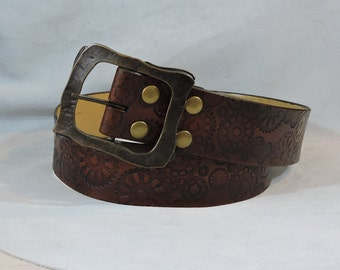 In Stock 2.25 inch, Brown, Large Celtic Design Leather Pirate or Kilt Belt