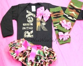Coming Home Outfit Personalized Girls Newborn Camo Bodysuit, Diaper Cover/ Bloomer and Leg Warmer SET 3 PIECE Grey Aqua You Design