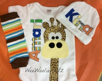 Boys Personalized Newborn Gifaffe Bodysuit, Beanie, and Leg Warmer SET 3 PIECE Coming Home Outfit Baby Shower Gift Long Necked Giraffe