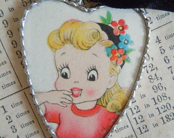 Fiona and The Fig - 1940s Era - Colorful Greeting Card - Double Sided - Charm - Necklace - Pendant - Jewelry