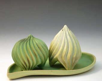 Green and tan porcelain salt & pepper shakers