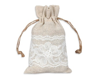 Linen and Lace Bag, Lace Pouch, 3X5 Linen Bags, 12 Natural Linen Gift Bags, Advent Bag, Jewelry Bag