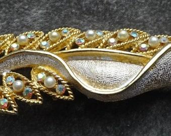 Vintage Pearl and AB Rhinestone Leaf, AB Rhinestones, Faux Pearls