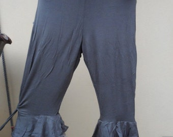 """20%OFF lagenlook 3/4 pants with ruffles and roses...small to firmer 36"""" hips or waist...."""
