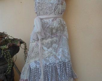 "20% OFF wedding dress bohemian lagenlook gyspy vintage boho ...medium to firmer 40"" bust.."