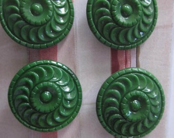 Four (4) Vintage Green Glass Buttons