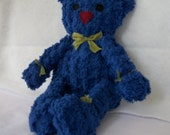 Deep Blue Chenille Bear Handmade