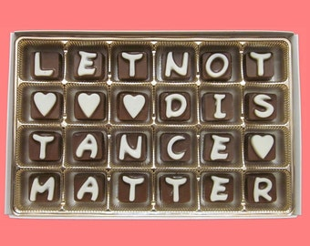 Long Distance Relationship Boyfriend Gift for Him Girlfriend Gift for Her Distant Love Cute Let Not Distance Matter Cubic Chocolate Letters