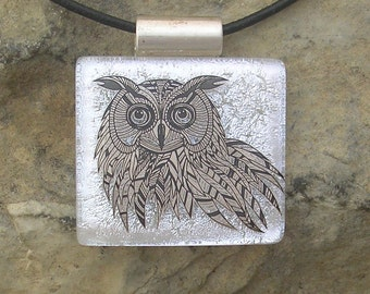 Owl Necklace Fused Dichroic Glass Silver Owl Pendant