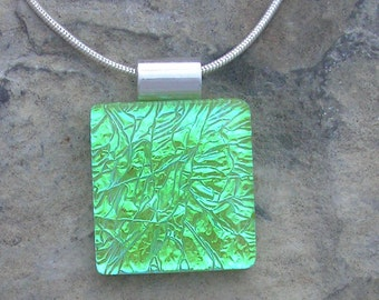Lime Green Pendant Fused Dichroic Glass Necklace