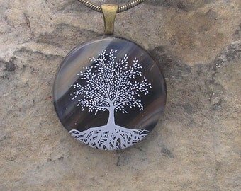 Earthy Tree of Life Necklace  Fused Glass Tree Pendant