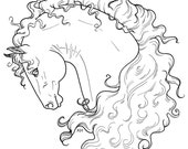 Beautiful Horse COLORING page - DIGITAL file - curly mane fantasy whimsical portrait head 8x10 Kate Holloman