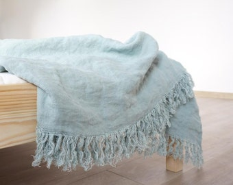 Linen Blanket--Aqua color --Throw--natural--home decor--Vintage