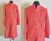 Vintage Leslie Fay Red & White Polka Dot Dress, bust 36, waist up to 33, abt size Medium