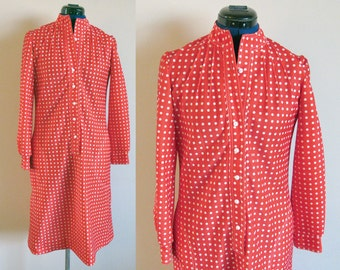 SALE : Vintage Leslie Fay Red & White Polka Dot Dress, bust 36, waist up to 33, abt size Medium
