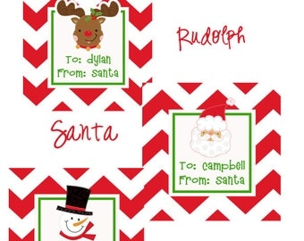 "Personalized Christmas Gift Label Tag Stickers- Set of 20 2.5"" Square- Choice of Santa Gift labels, Rudolph Gift Labels, Snowman Gift Labels"