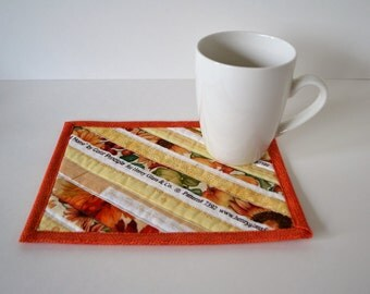 Fall Colors Mug Rug, Quilted coasters, Mini placemats, Orange Yellow mug mat, quilted mug rug, upcycled selvage, eco friendly