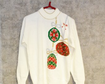 Christmas Sweater Vintage Ornaments on Ivory Snow