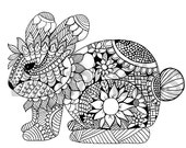 Adult coloring Download Whimsical Bunny Adult Coloring Page, Spring Bunny Coloring Page, Easter Bunny to Color, Line Drawing, Scrapbooking