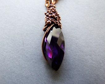 Violet Drop Necklace, Purple Cubic Zirconia Glamour Necklace, Elvish Elegant Jewelry, Purple Neckalce