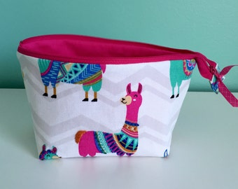 Hand Embroidered Embellished Zippered Flat Bottom Knitting Project Pouch Bag Tote Small Size Llama Alpaca Wool