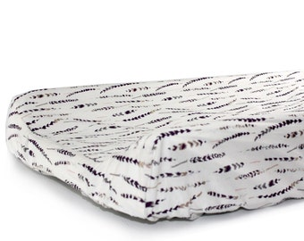FEATHERS - changing pad cover for contoured changing pad- change mat cover- tribal baby bedding- gender neutral fitted change pad slipcover