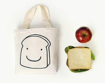 Tote bag Sandwich Bag · Lunch bag for your meal · Kids canvas tote bag · Lunch tote · Small tote bag with toast print · Handmade cotton bag