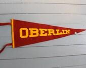 School Pride.. Vintage Oberlin College Felt Travel Pennant, Travel Pennant, Souvenir Pennant